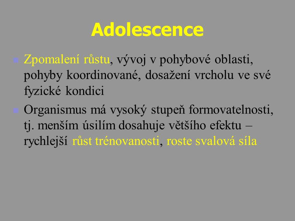 Adolescence Zpomalení růstu, vývoj v pohybové oblasti, pohyby koordinované, dosažení vrcholu ve své fyzické kondici.