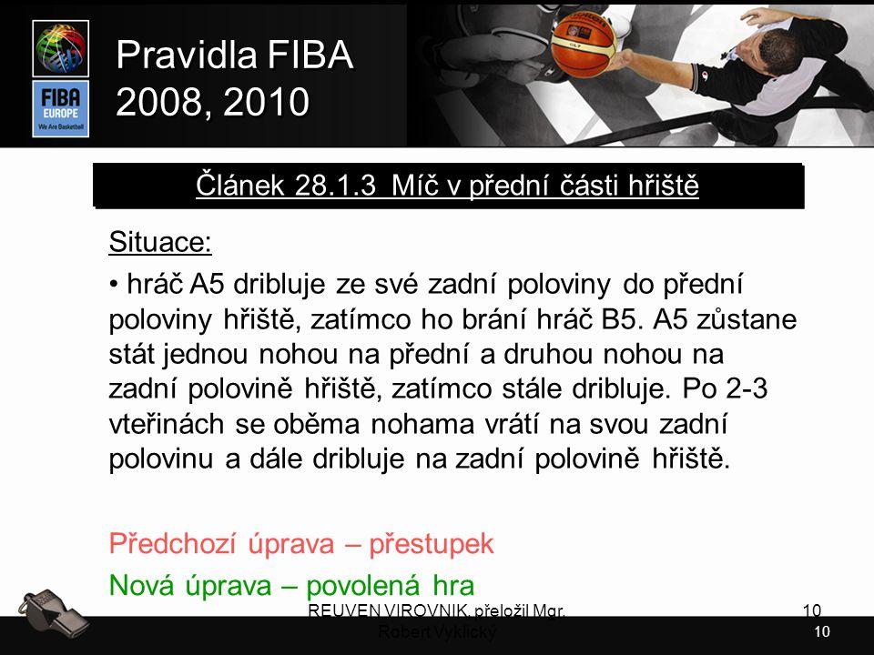 Článek 28.1.3 Míč v přední části hřiště