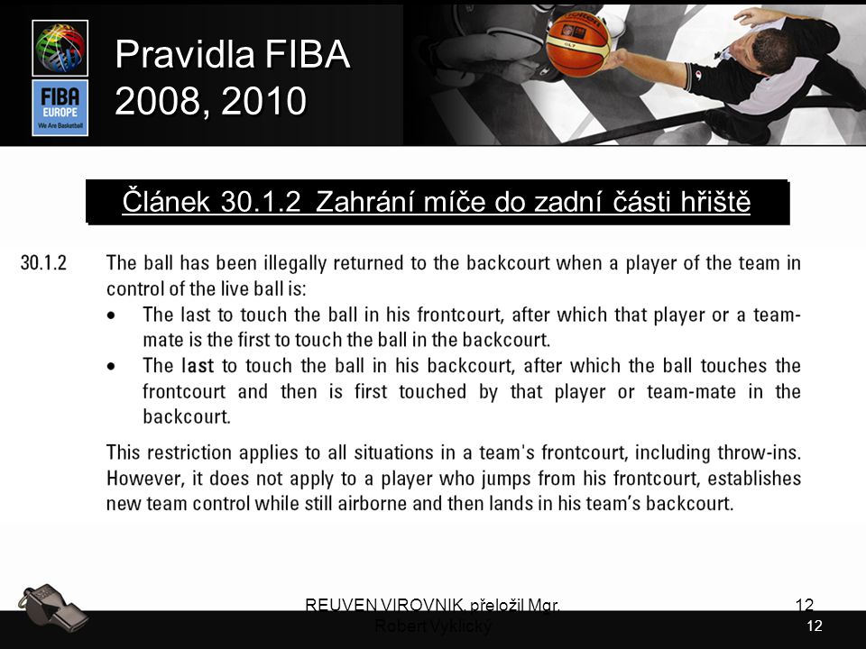 Článek 30.1.2 Zahrání míče do zadní části hřiště