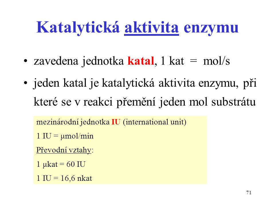 Katalytická aktivita enzymu