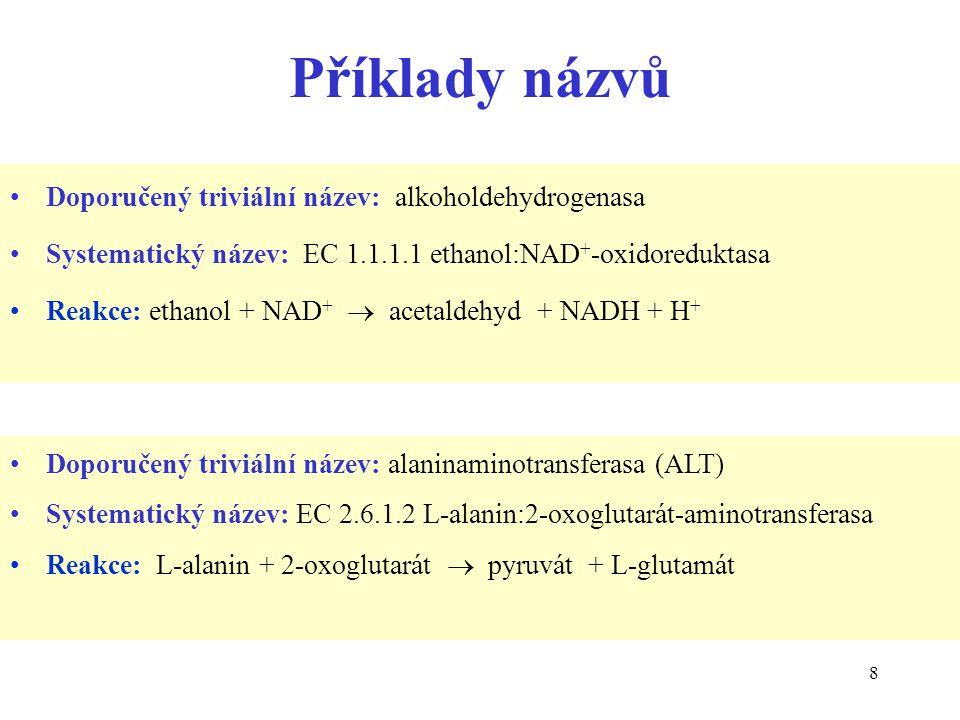 Příklady názvů Doporučený triviální název: alkoholdehydrogenasa