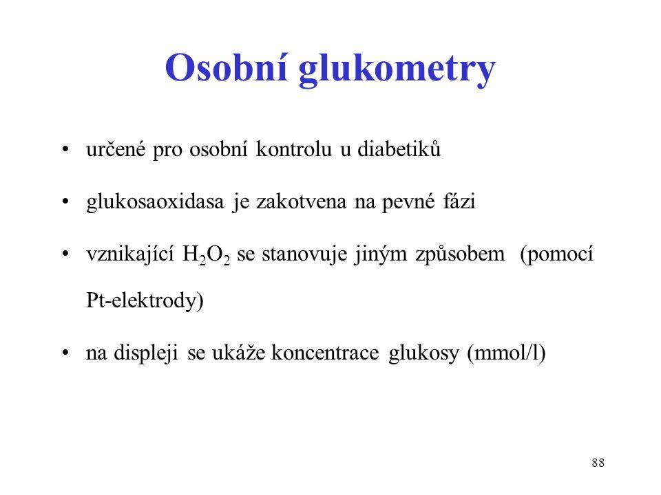 Osobní glukometry určené pro osobní kontrolu u diabetiků
