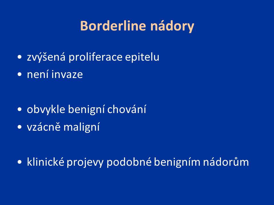 Borderline nádory zvýšená proliferace epitelu není invaze
