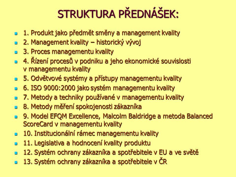 STRUKTURA PŘEDNÁŠEK: 1. Produkt jako předmět směny a management kvality. 2. Management kvality – historický vývoj.