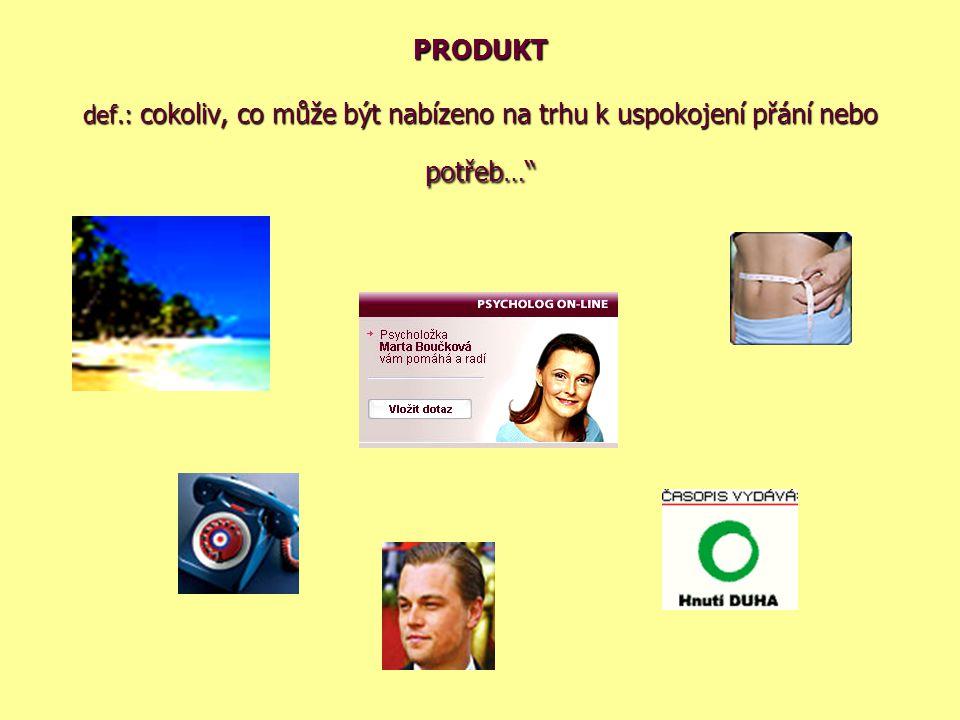 PRODUKT def.: cokoliv, co může být nabízeno na trhu k uspokojení přání nebo potřeb…