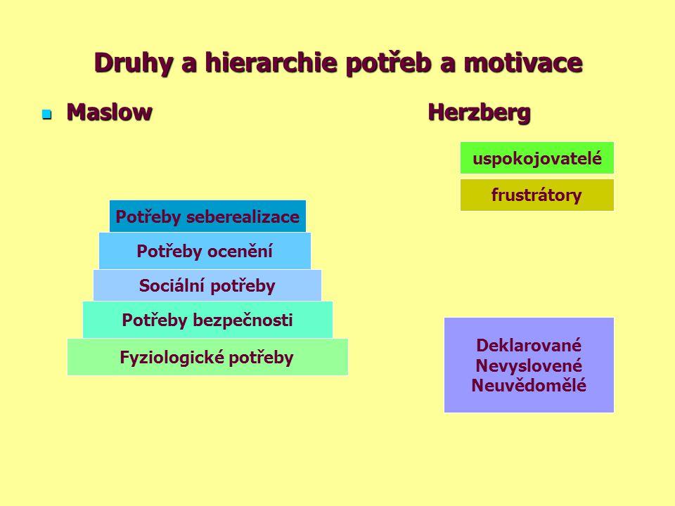 Druhy a hierarchie potřeb a motivace