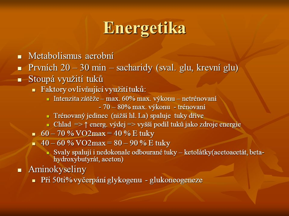 Energetika Metabolismus aerobní