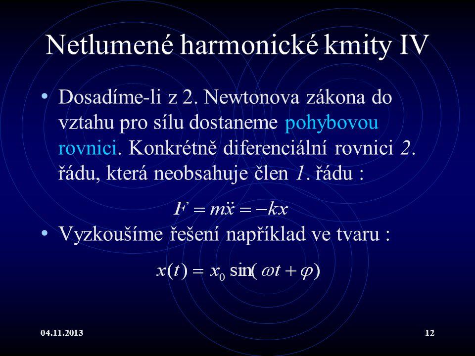 Netlumené harmonické kmity IV