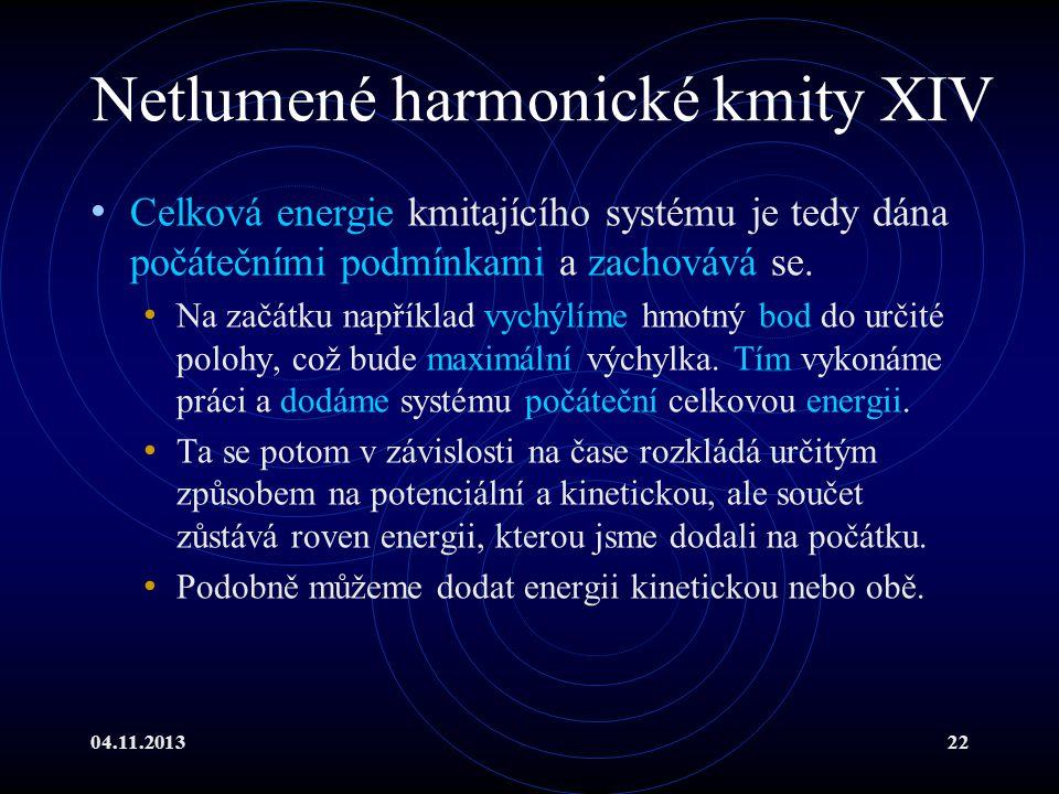 Netlumené harmonické kmity XIV