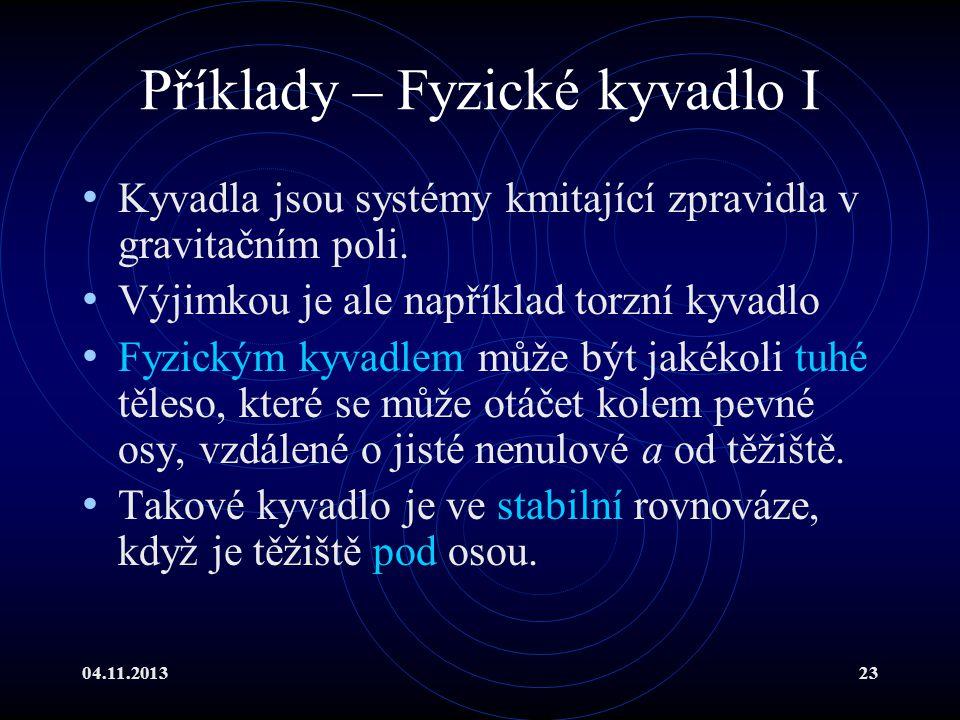 Příklady – Fyzické kyvadlo I