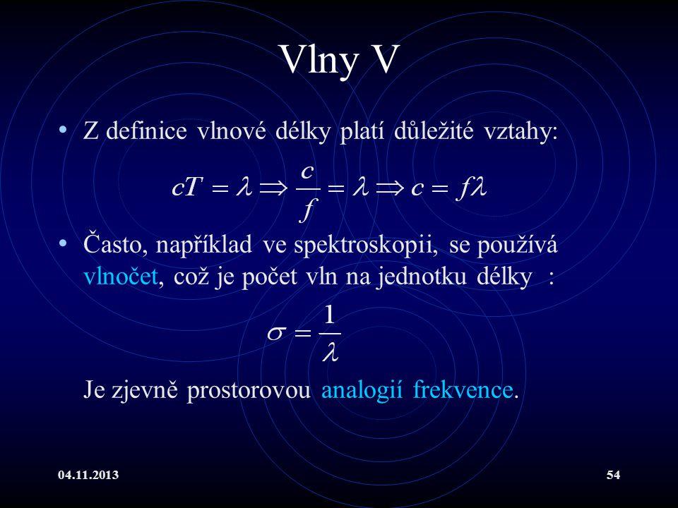 Vlny V Z definice vlnové délky platí důležité vztahy: