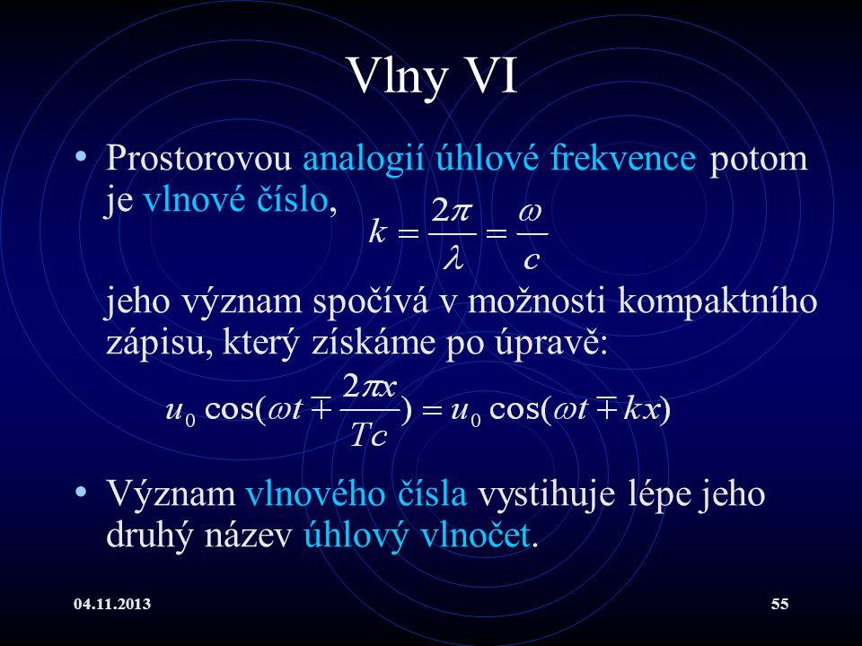 Vlny VI Prostorovou analogií úhlové frekvence potom je vlnové číslo,