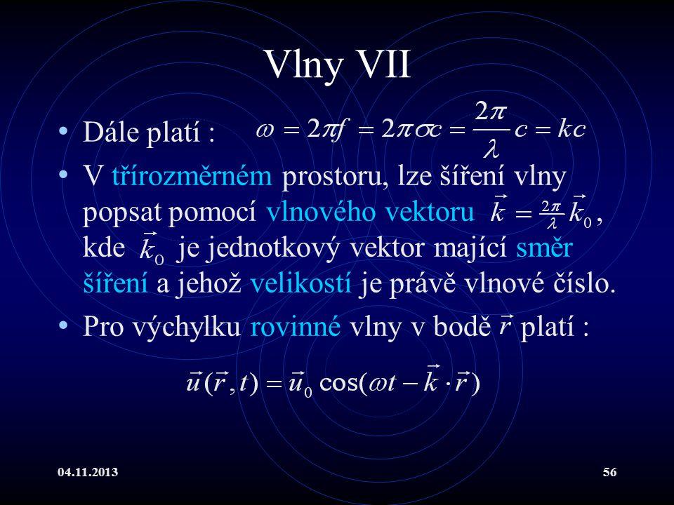 Vlny VII Dále platí :