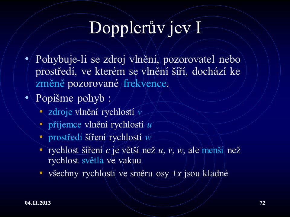 Dopplerův jev I Pohybuje-li se zdroj vlnění, pozorovatel nebo prostředí, ve kterém se vlnění šíří, dochází ke změně pozorované frekvence.