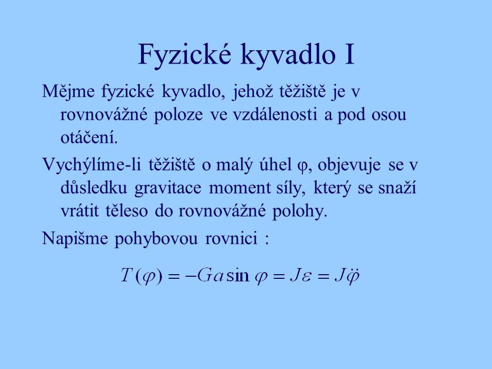 Fyzické kyvadlo I Mějme fyzické kyvadlo, jehož těžiště je v rovnovážné poloze ve vzdálenosti a pod osou otáčení.