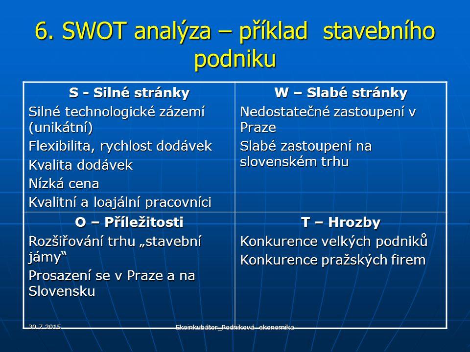 6. SWOT analýza – příklad stavebního podniku