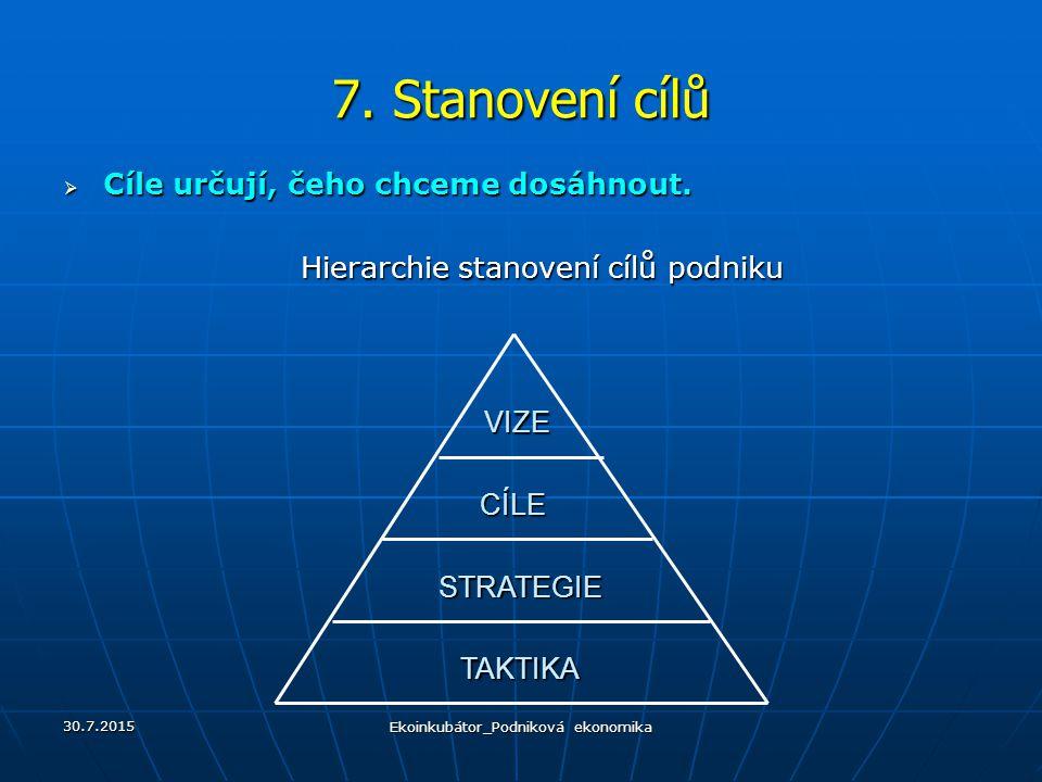 7. Stanovení cílů Cíle určují, čeho chceme dosáhnout.
