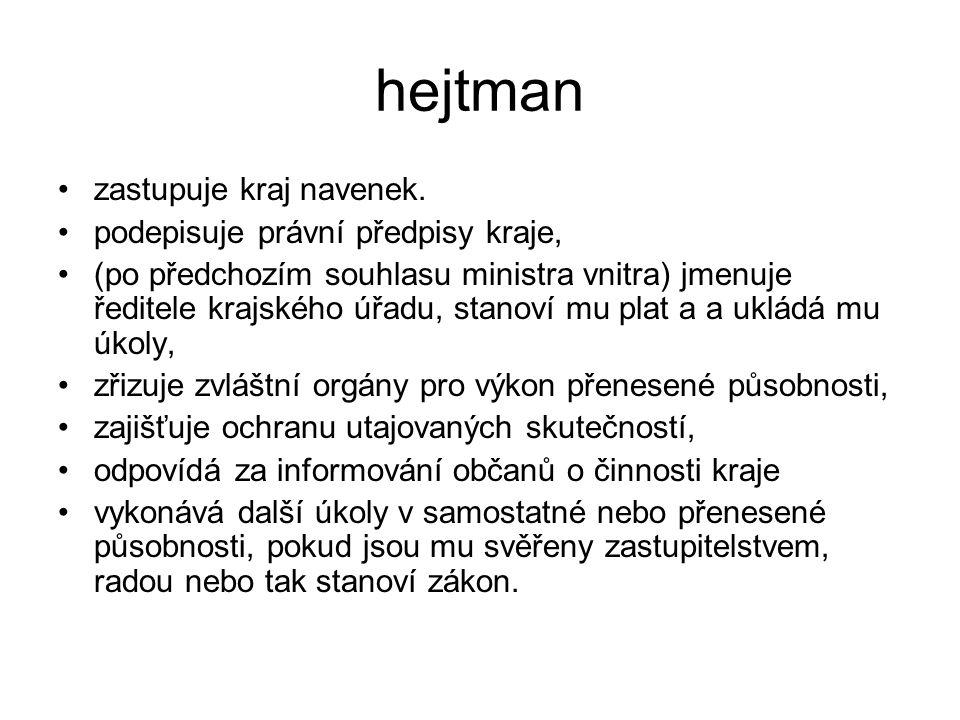 hejtman zastupuje kraj navenek. podepisuje právní předpisy kraje,