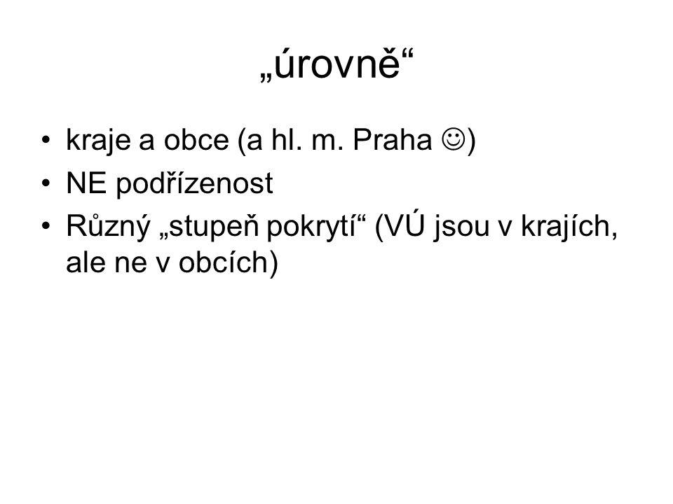 """""""úrovně kraje a obce (a hl. m. Praha ) NE podřízenost"""