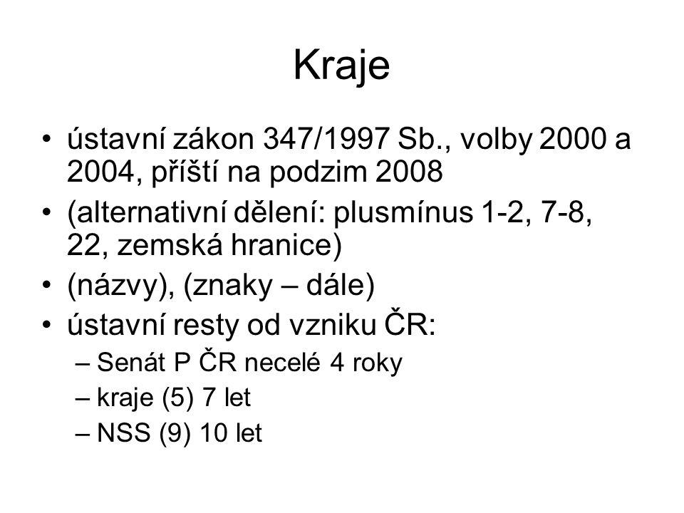 Kraje ústavní zákon 347/1997 Sb., volby 2000 a 2004, příští na podzim 2008. (alternativní dělení: plusmínus 1-2, 7-8, 22, zemská hranice)