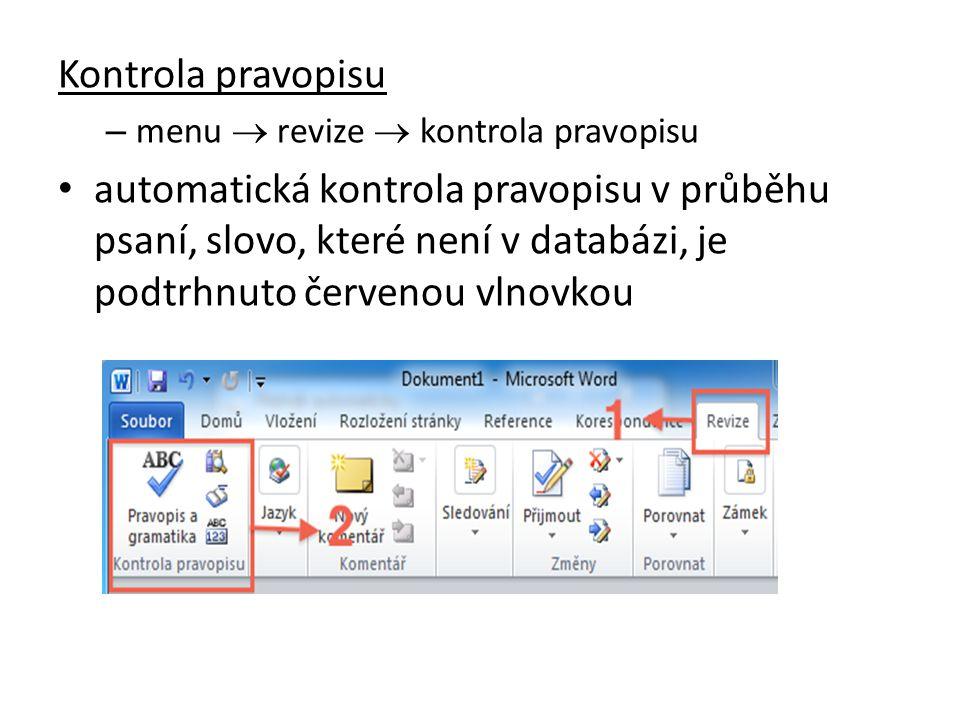 Kontrola pravopisu menu  revize  kontrola pravopisu.