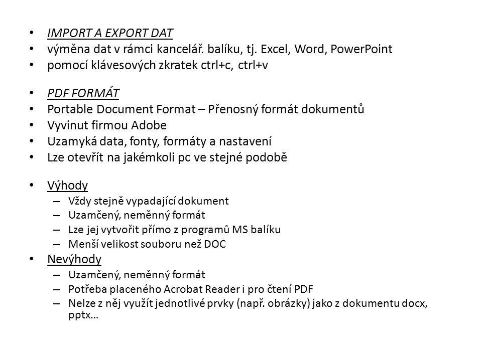 výměna dat v rámci kancelář. balíku, tj. Excel, Word, PowerPoint