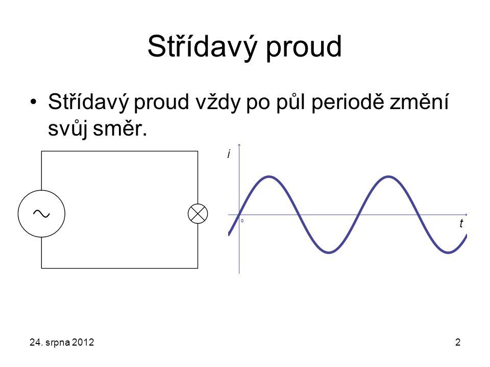 Střídavý proud Střídavý proud vždy po půl periodě změní svůj směr. i t