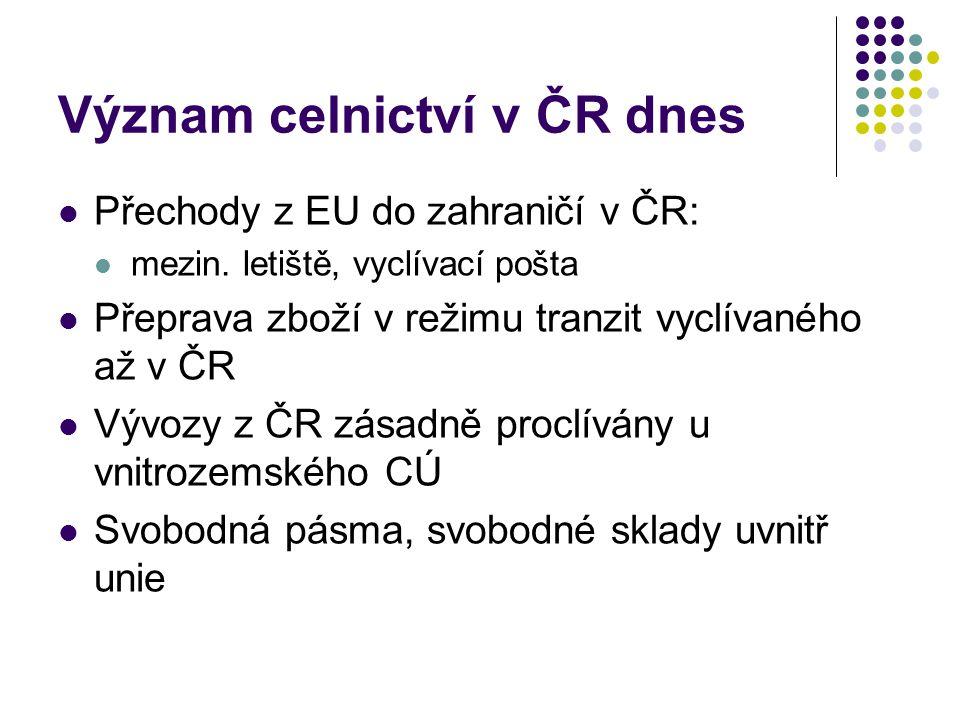 Význam celnictví v ČR dnes