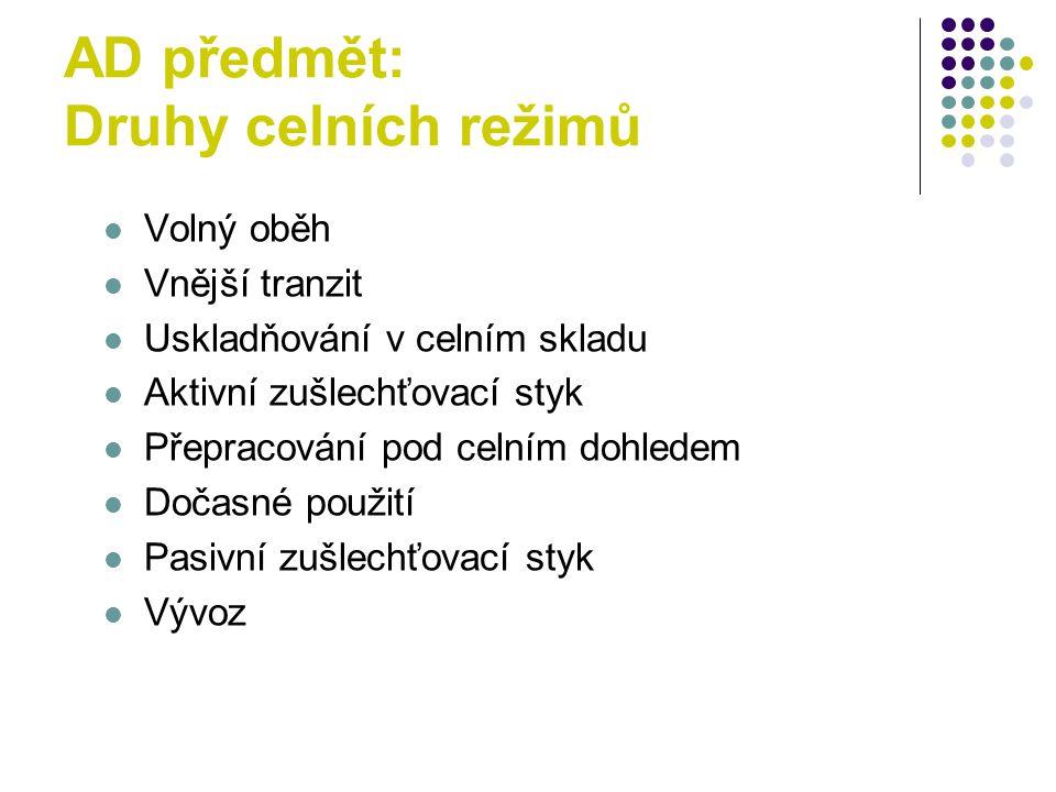 AD předmět: Druhy celních režimů