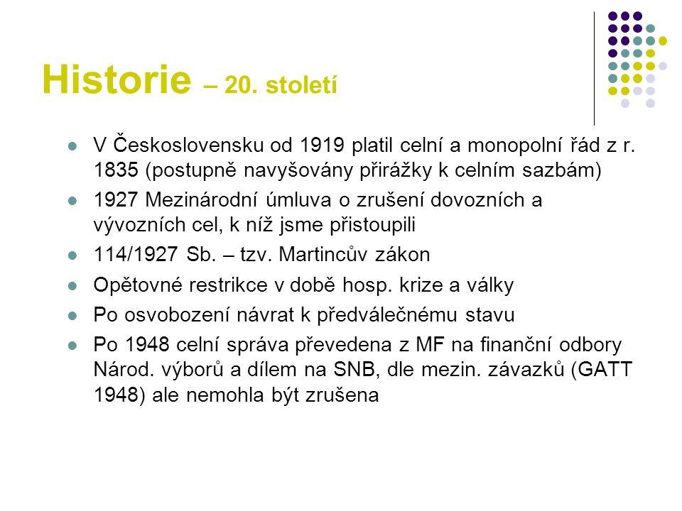 Historie – 20. století V Československu od 1919 platil celní a monopolní řád z r. 1835 (postupně navyšovány přirážky k celním sazbám)