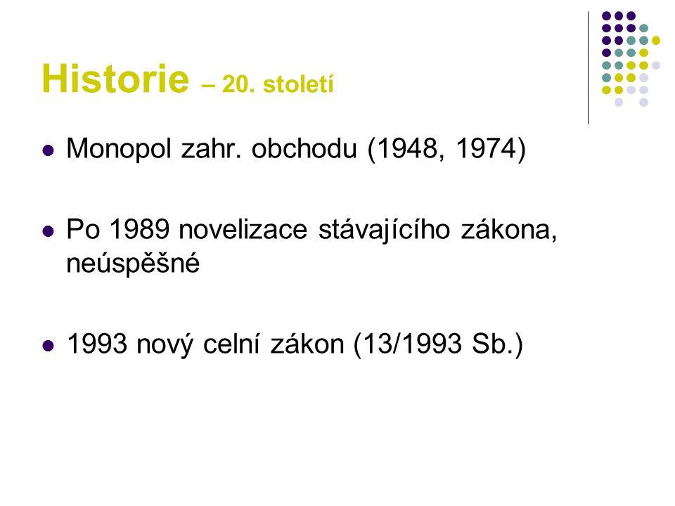 Historie – 20. století Monopol zahr. obchodu (1948, 1974)
