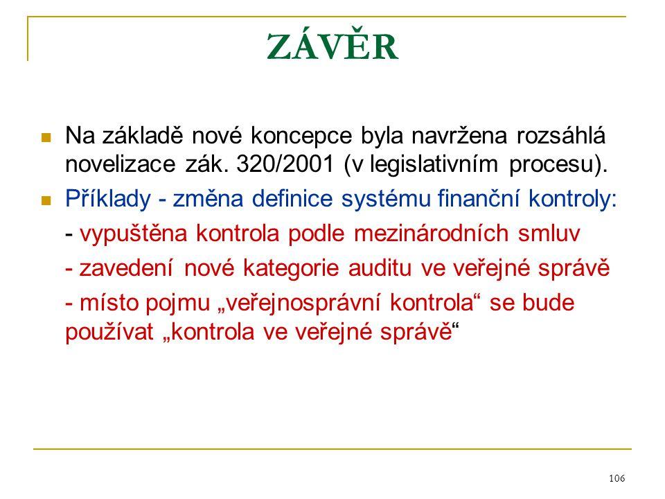 ZÁVĚR Na základě nové koncepce byla navržena rozsáhlá novelizace zák. 320/2001 (v legislativním procesu).