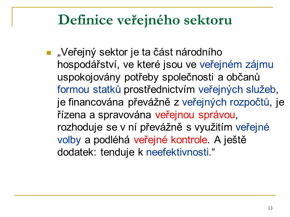 Definice veřejného sektoru