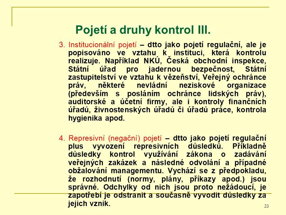 Pojetí a druhy kontrol III.