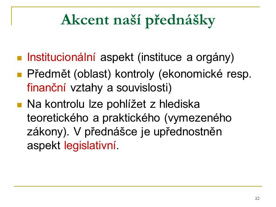 Akcent naší přednášky Institucionální aspekt (instituce a orgány)