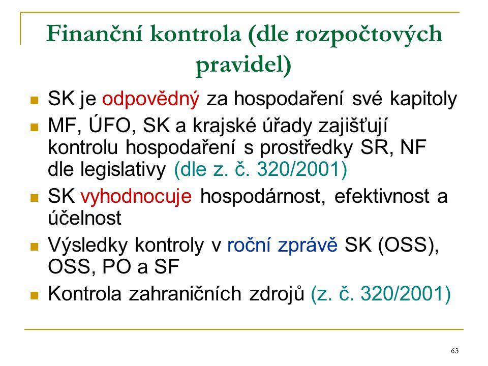 Finanční kontrola (dle rozpočtových pravidel)