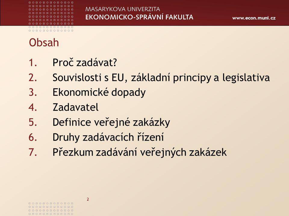 Obsah Proč zadávat Souvislosti s EU, základní principy a legislativa