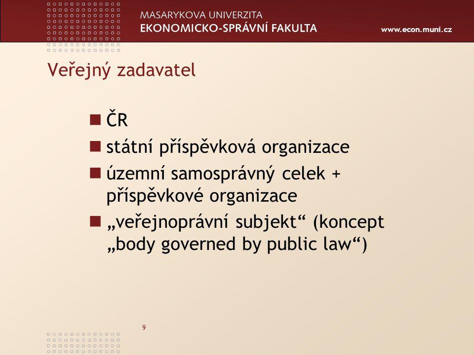 Veřejný zadavatel ČR. státní příspěvková organizace. územní samosprávný celek + příspěvkové organizace.
