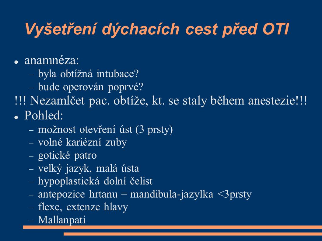 Vyšetření dýchacích cest před OTI