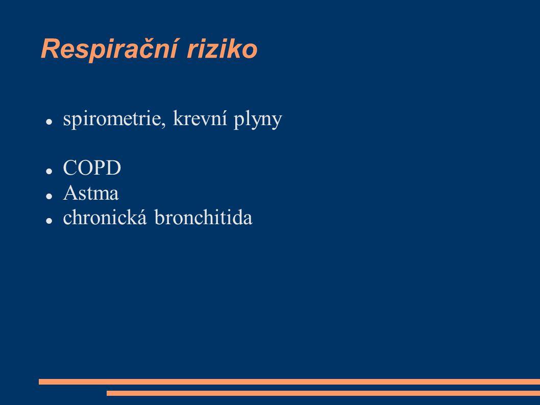 Respirační riziko spirometrie, krevní plyny COPD Astma