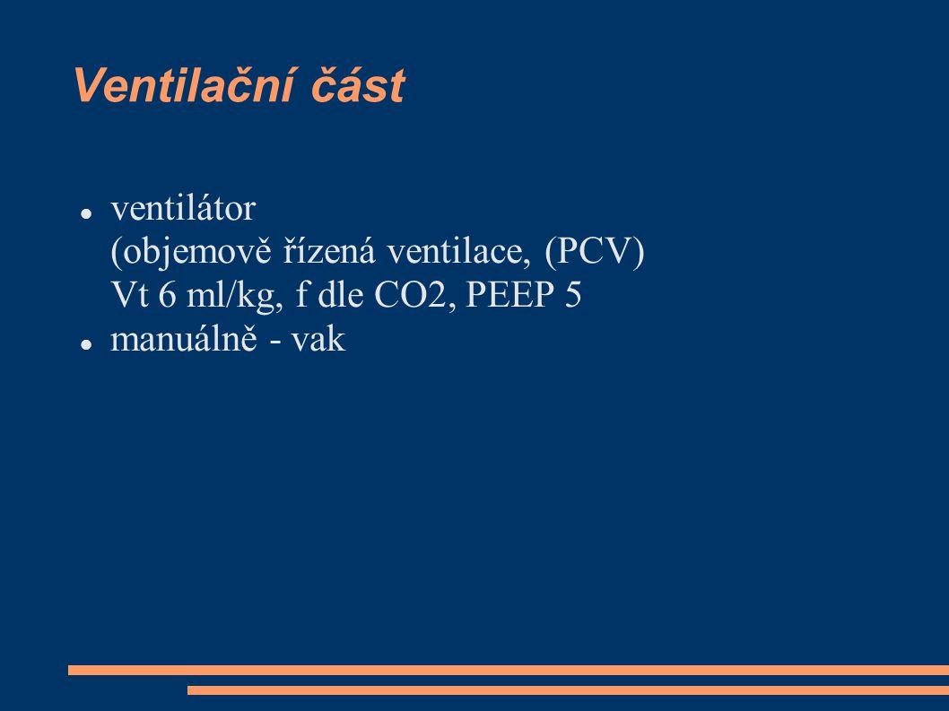 Ventilační část ventilátor (objemově řízená ventilace, (PCV) Vt 6 ml/kg, f dle CO2, PEEP 5.