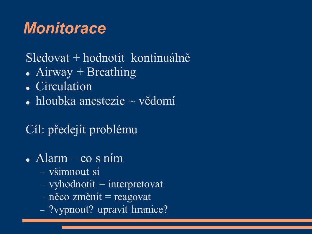 Monitorace Sledovat + hodnotit kontinuálně Airway + Breathing