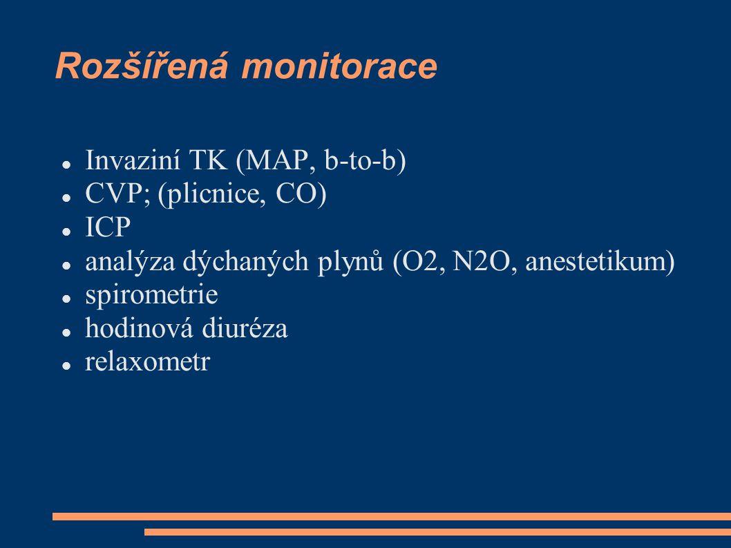 Rozšířená monitorace Invaziní TK (MAP, b-to-b) CVP; (plicnice, CO) ICP