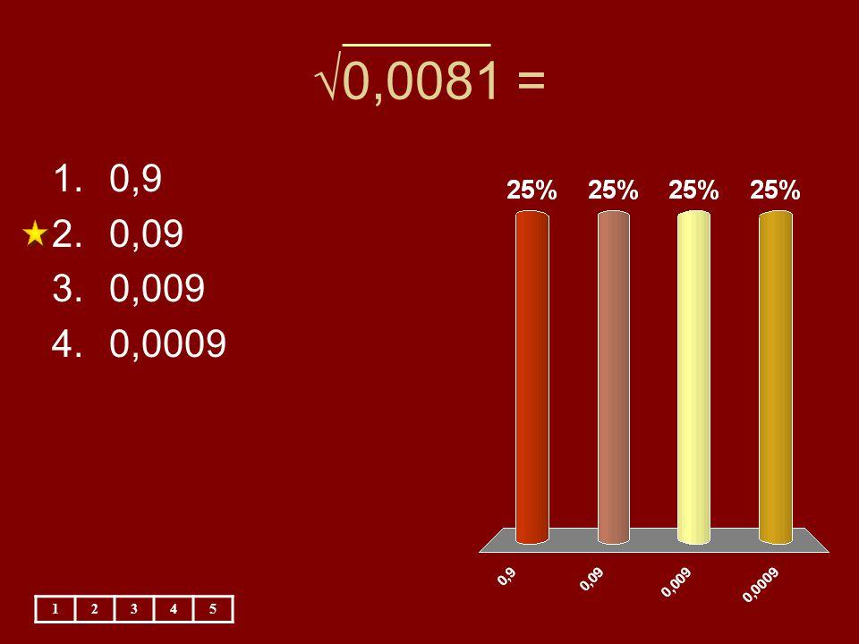 √0,0081 = 0,9 0,09 0,009 0,0009 1 2 3 4 5