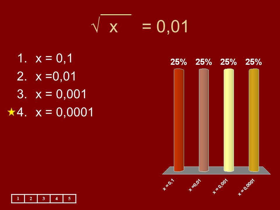 √ x = 0,01 x = 0,1 x =0,01 x = 0,001 x = 0,0001 1 2 3 4 5