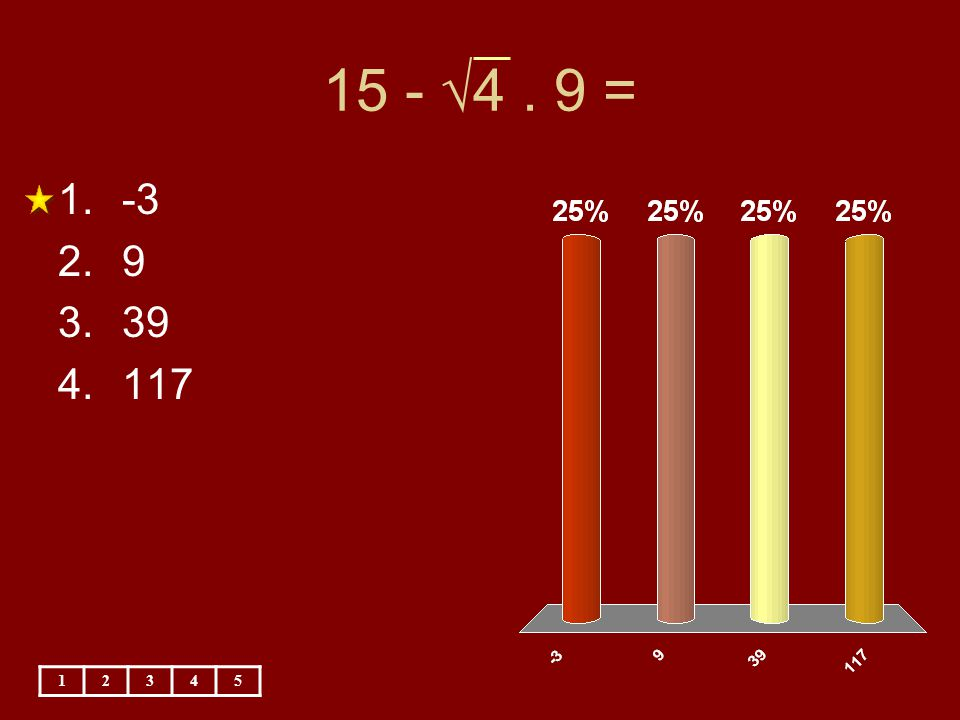 15 - √4 . 9 = -3 9 39 117 1 2 3 4 5