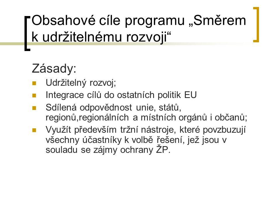 """Obsahové cíle programu """"Směrem k udržitelnému rozvoji"""