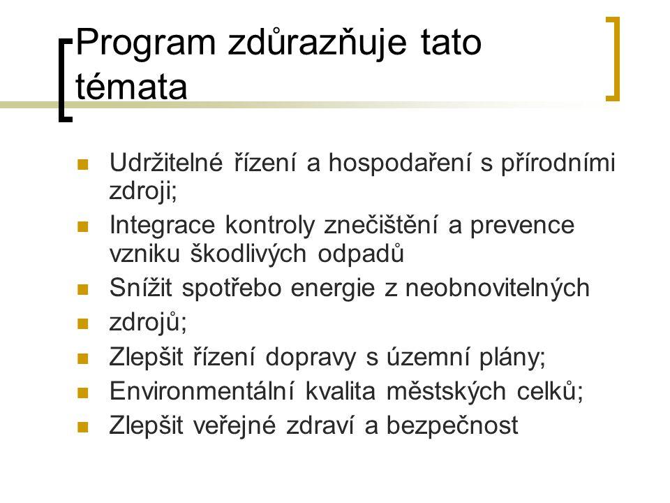 Program zdůrazňuje tato témata