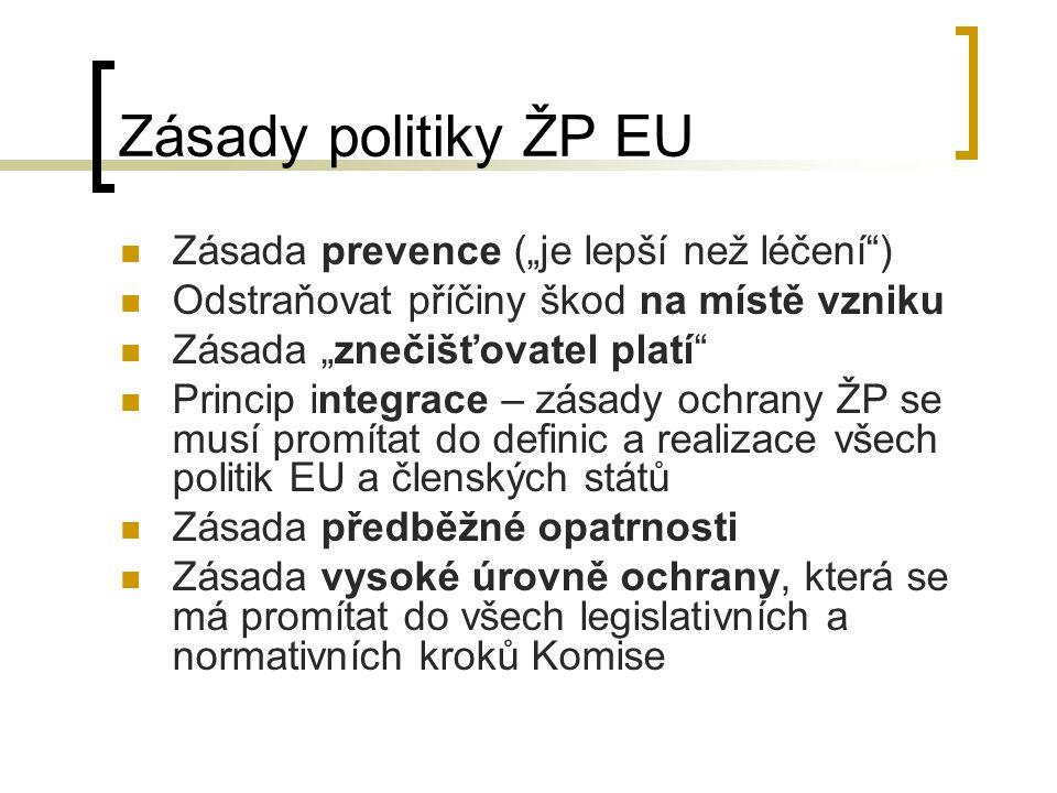 """Zásady politiky ŽP EU Zásada prevence (""""je lepší než léčení )"""
