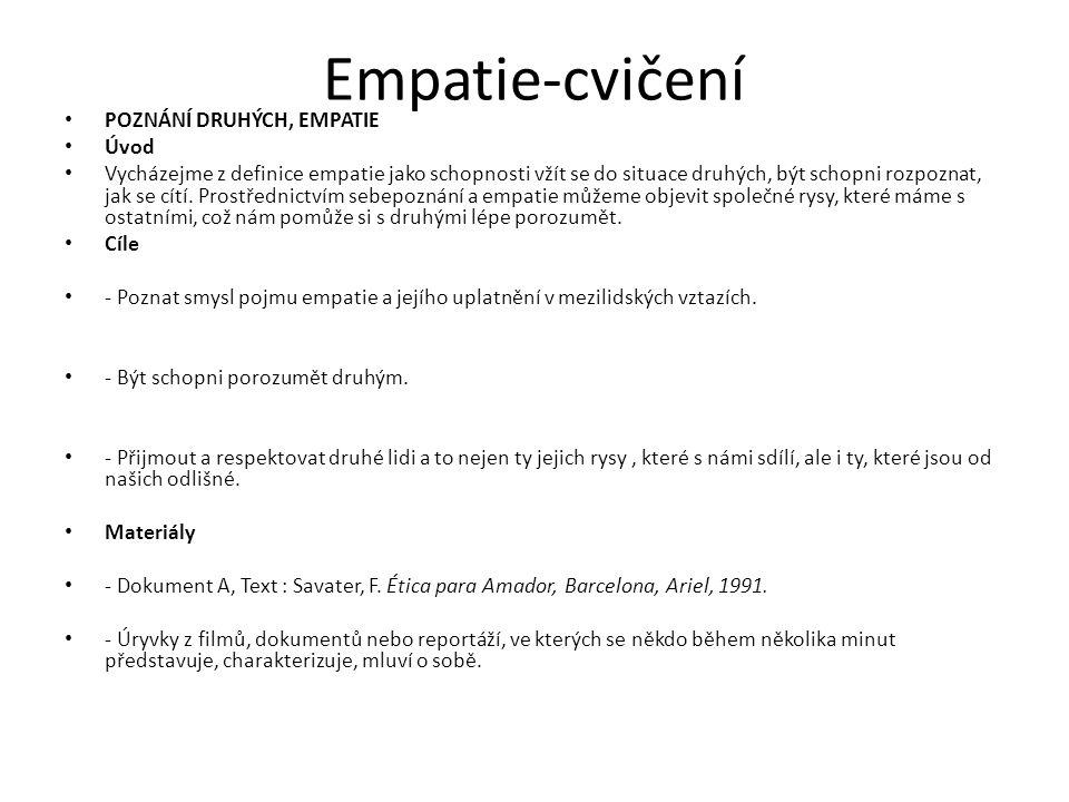 Empatie-cvičení POZNÁNÍ DRUHÝCH, EMPATIE Úvod